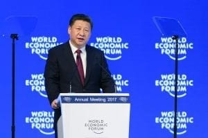 """Chinese President Xi Jinping said on January 17, 2017 that there is """"no point"""" in blaming economic globalisation for the world's problems. The leader of the world's second largest economy made the comment at the World Economic Forum, where he is making his first appearance as China seeks to play a greater role in world trade regimes amid rising protectionism in the US and Europe. The global elite begin a week of earnest debate and Alpine partying in the Swiss ski resort of Davos, in a week bookended by two presidential speeches of historic import. / AFP / FABRICE COFFRINI (Photo credit should read FABRICE COFFRINI/AFP/Getty Images)"""